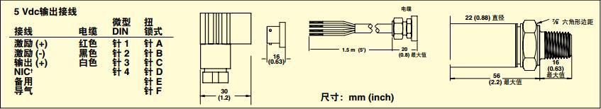 PX309壓力傳感器 接線圖