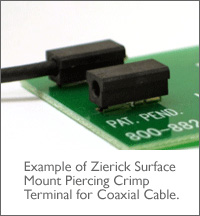 ZIERICK表面貼裝同軸電纜絕緣穿刺壓接端子