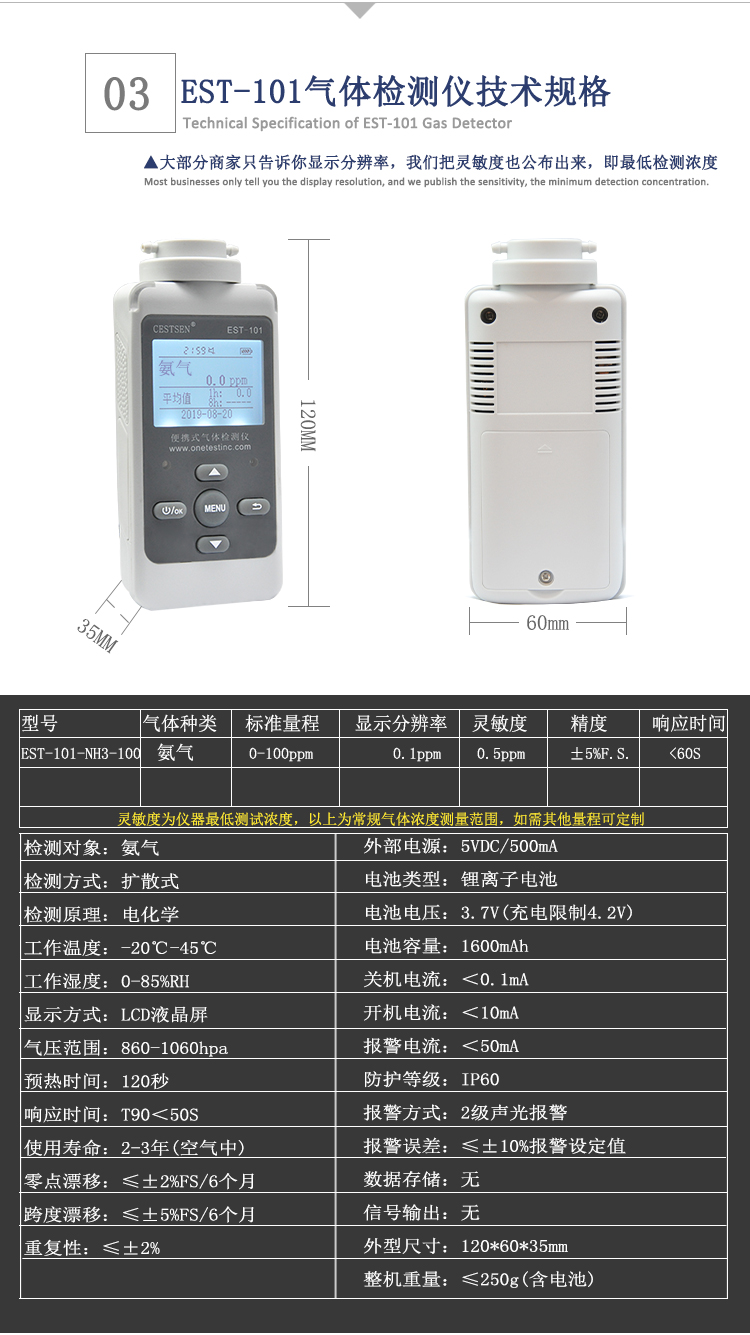 氨气检测仪技术规格
