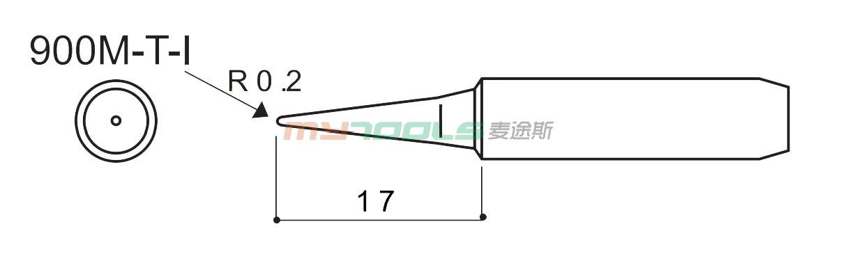 900M-T-I白光烙铁头剖面图